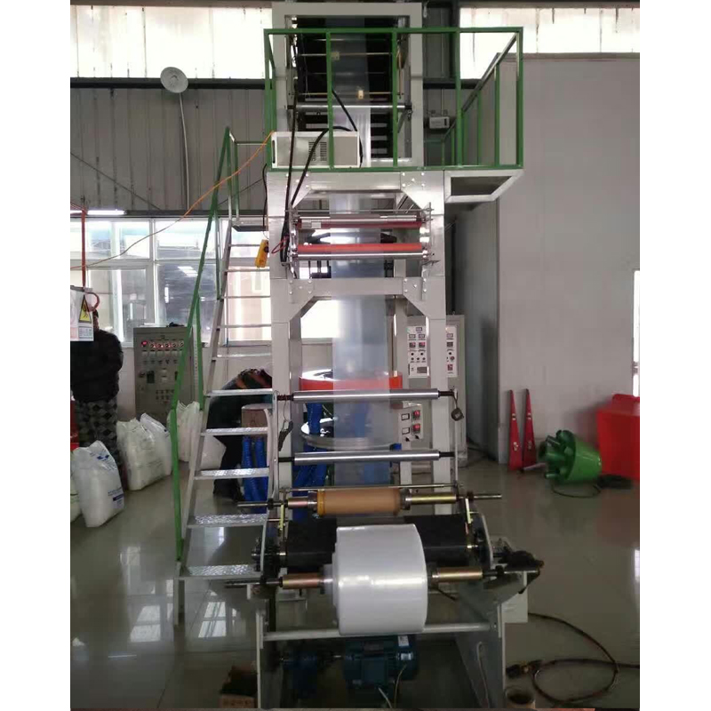 SJB mode film blowing machine with rotary die head and double rewinder